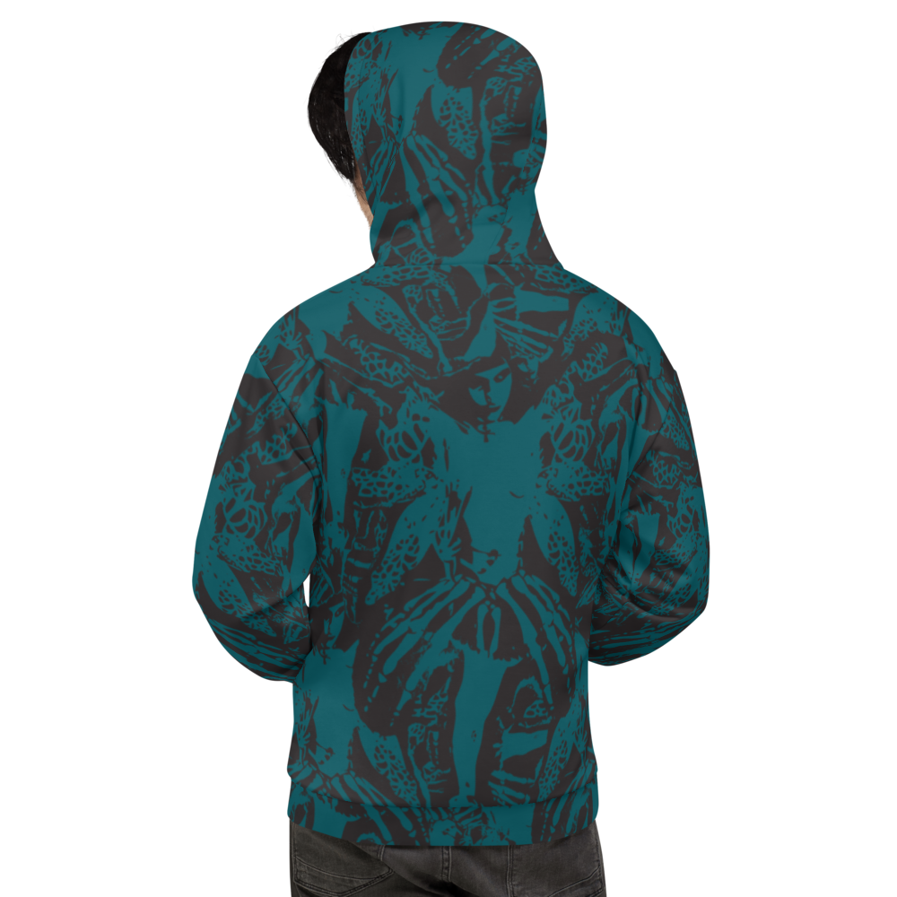 Image of NAMELESS TEAL ALLOVER HOODIE