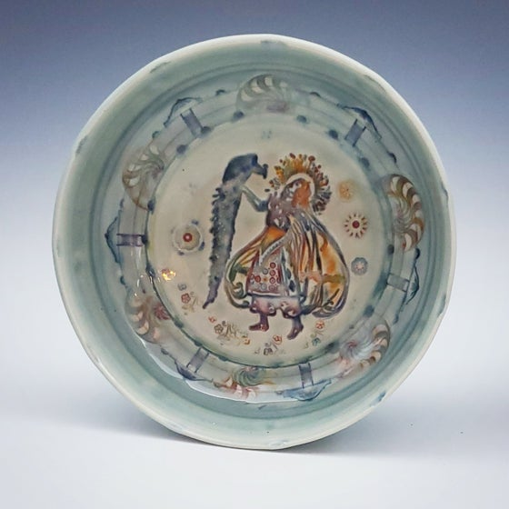 Image of Porcelain Peacock Dancer Dish