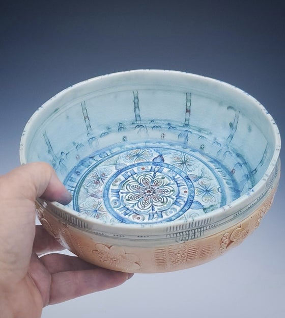 Image of Large Woodfired Mandala Flower Bowl