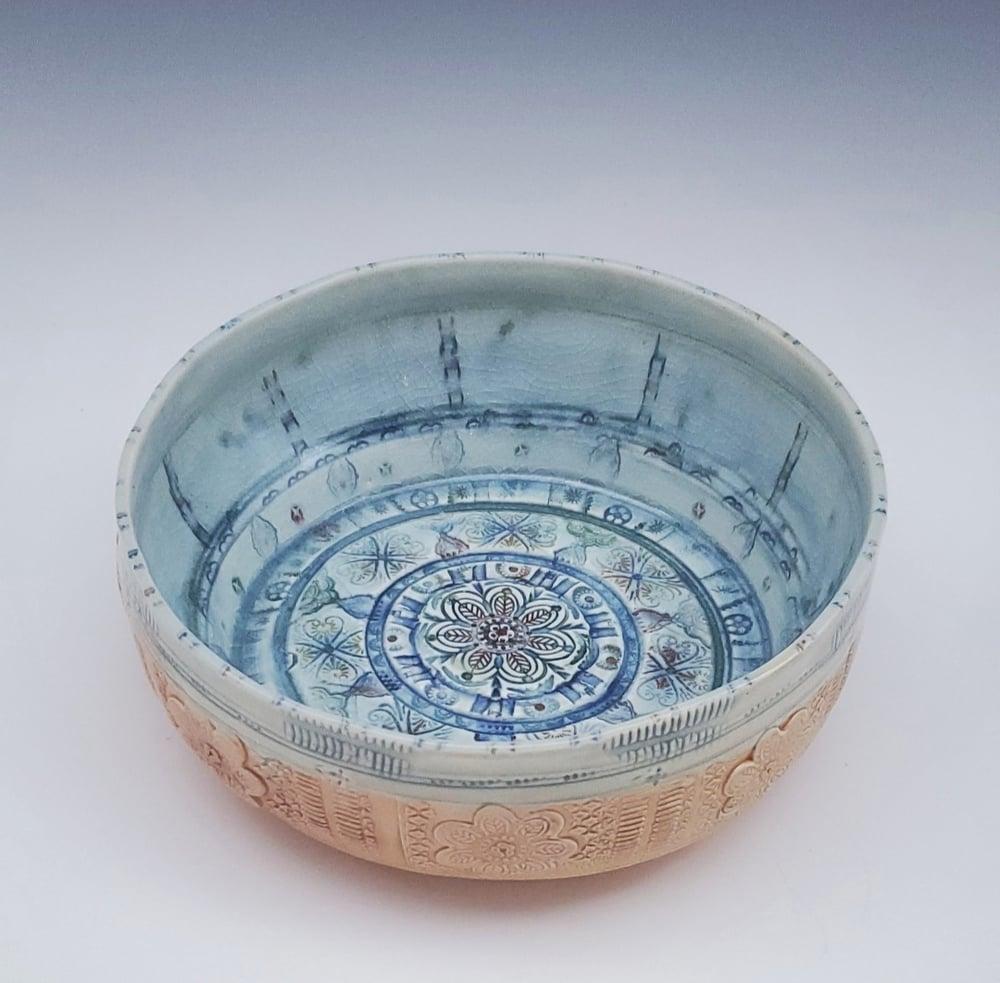 Image of Large Woodfired Mandala Flower Bowl