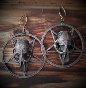 Image of Pentagram Muskrat Skull Hoops for Gauged Ears