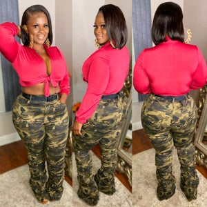 Image of Shirred Camo Jeans