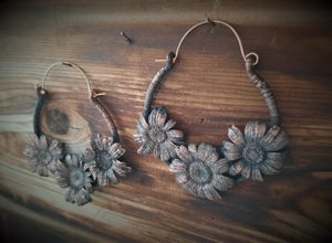Image of Electroplated Daisy Hoops