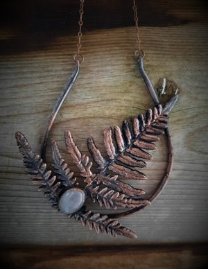 Image of Electroplated Fern with Rose Quarts