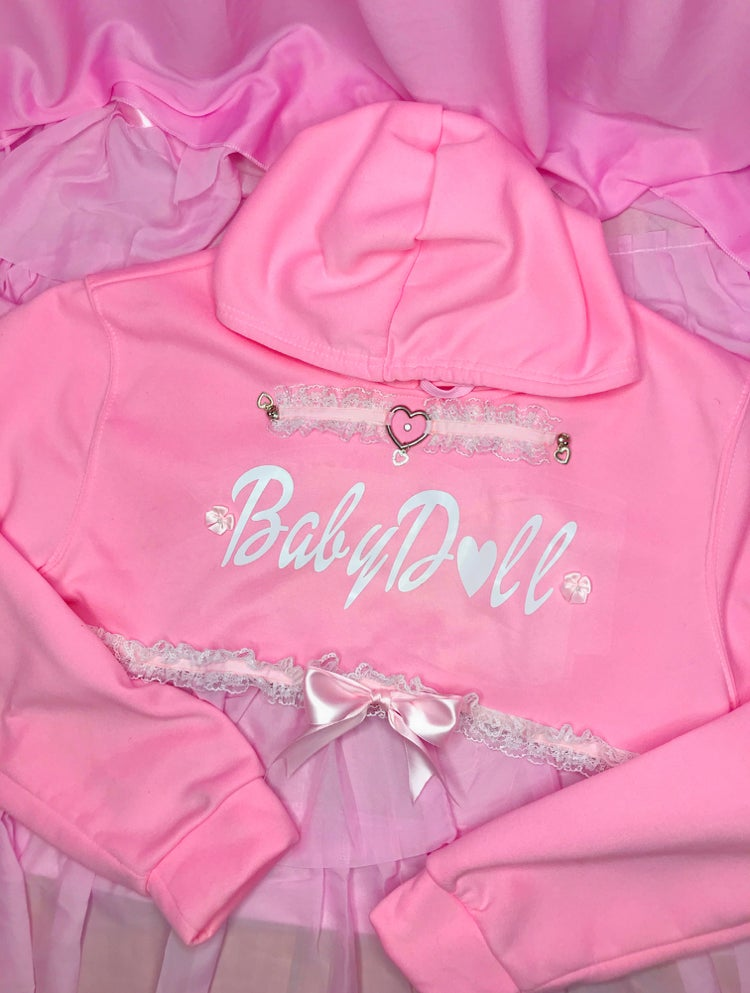 Image of BabyDoll High Crop hoodie (pink)