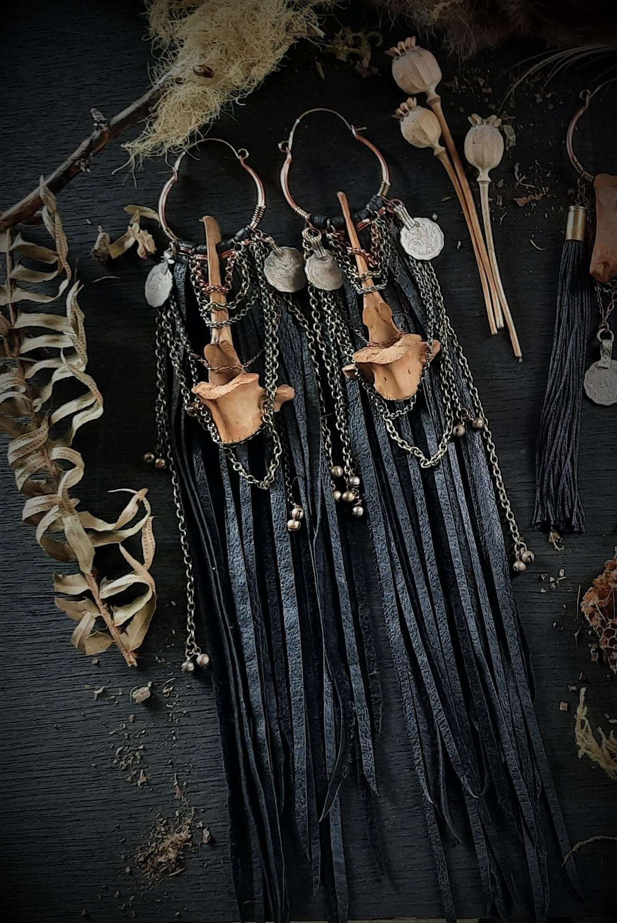 Image of Deer Vertebrae with Leather Fringe and Charms and Chains
