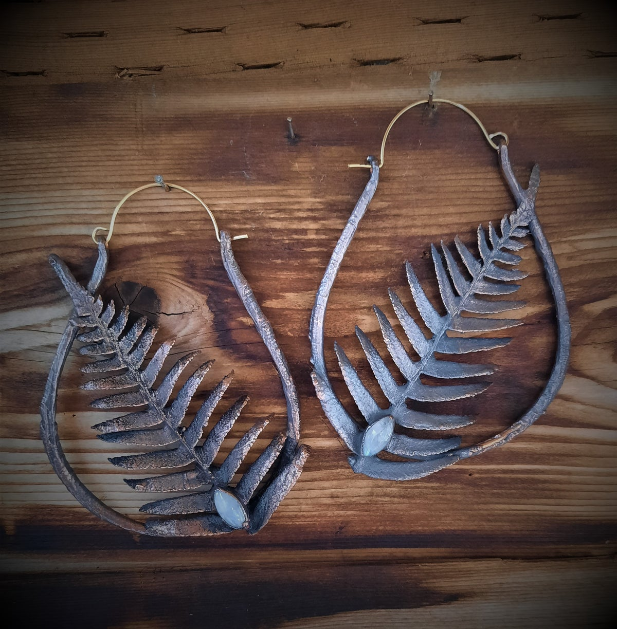 Image of Large Electroplated Fern Hoops with Moonstones