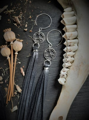 Image of Lilith Sigil Earrings with Leather Fringe