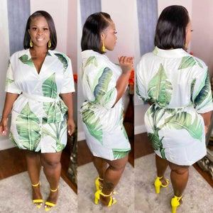 Image of Leafy Shirt Dress
