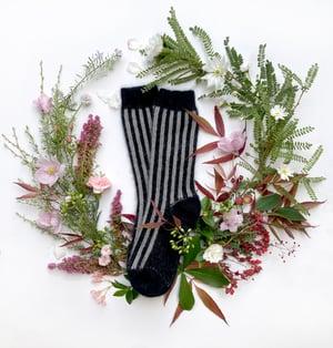 Image of Luxury Possum Socks  - Dove Grey & Black Stripes
