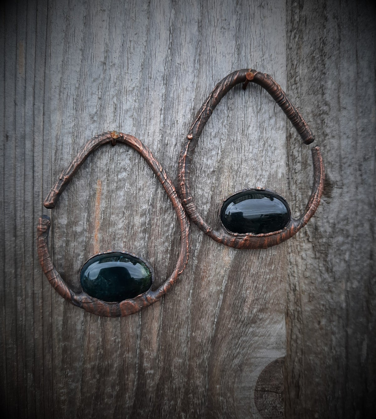 Image of Electroplated Moss Agate Hoops for Gauged Ears