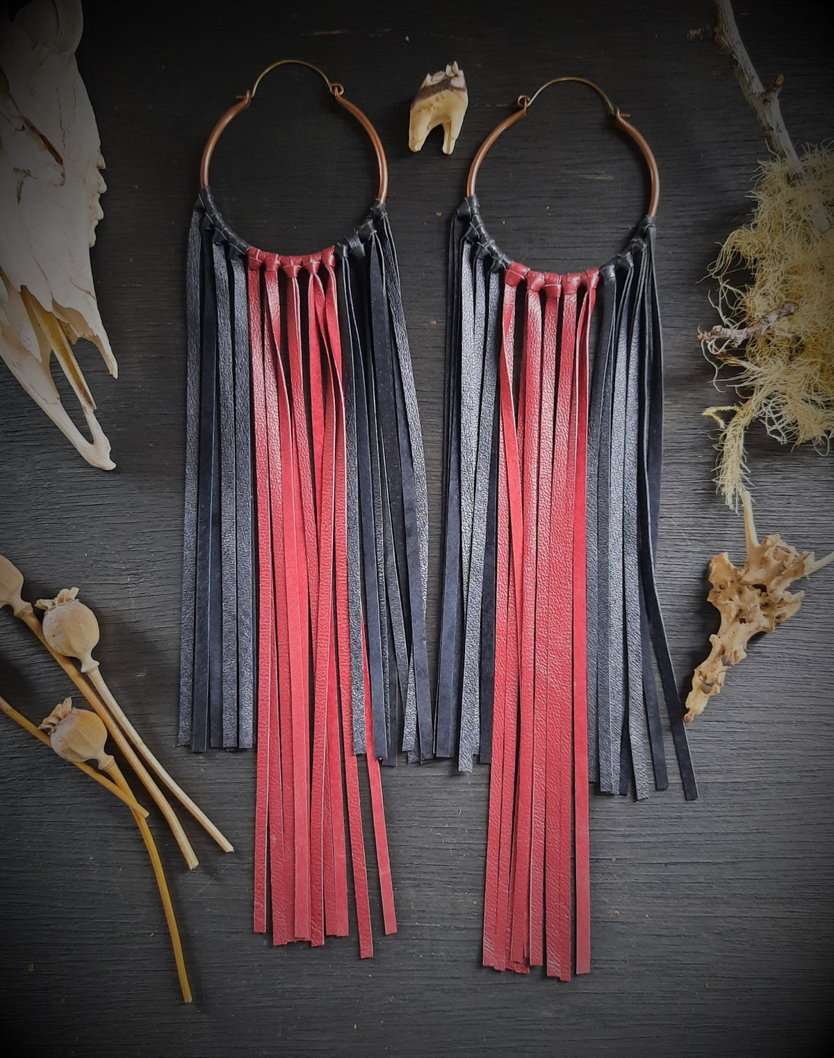 Image of Large Black and Red Leather Fringe Hoops