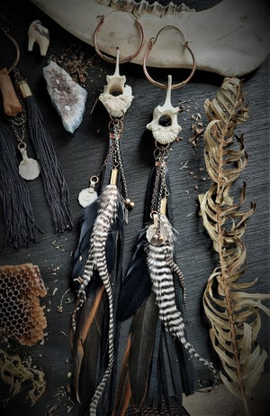 Image of Deer Vertebrae Earrings with Black Leather Fringe and Feathers