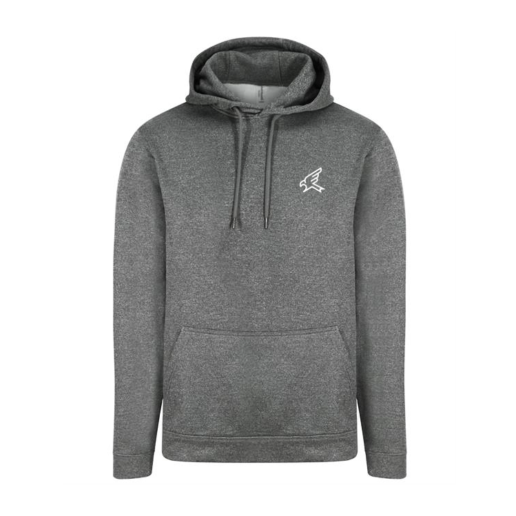 Image of Grey Marl Embroidered Polyester Hoody