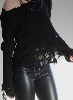 Image of MADE TO ORDER - KULTCHEN SHREDDED CROP SWEATER (Size XS - XXL)