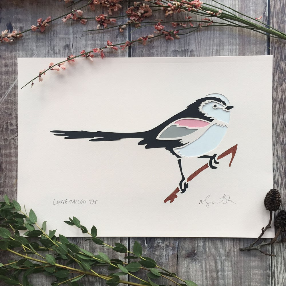 Image of Long tailed tit paper cut