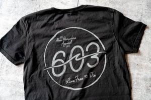 Image of 603 wave logo - True Black tee
