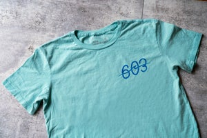 Image of 603 wave logo - Blue tee