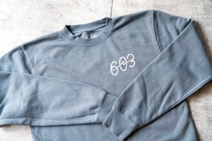 Image of 603 wave logo - blue crew neck