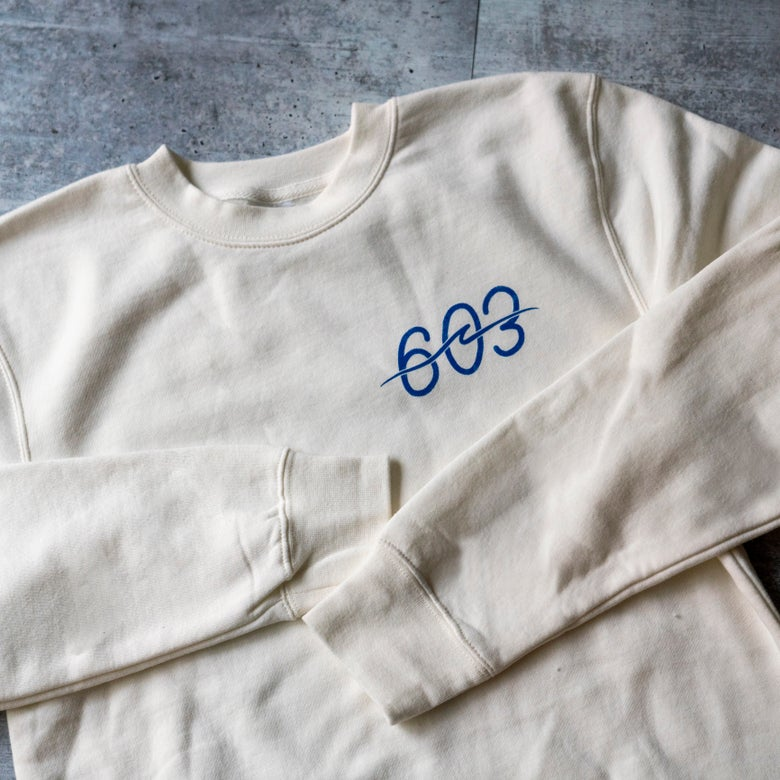 Image of 603 wave logo - White crew neck