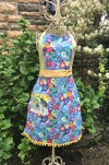 Full Apron, Blue Multi Colored Floral with Bees