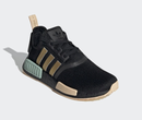 Image of Adidas NMD R1 Women's Sneaker Core Black/Gold Metallic/Halo Amber customized with Swarovski Crystals
