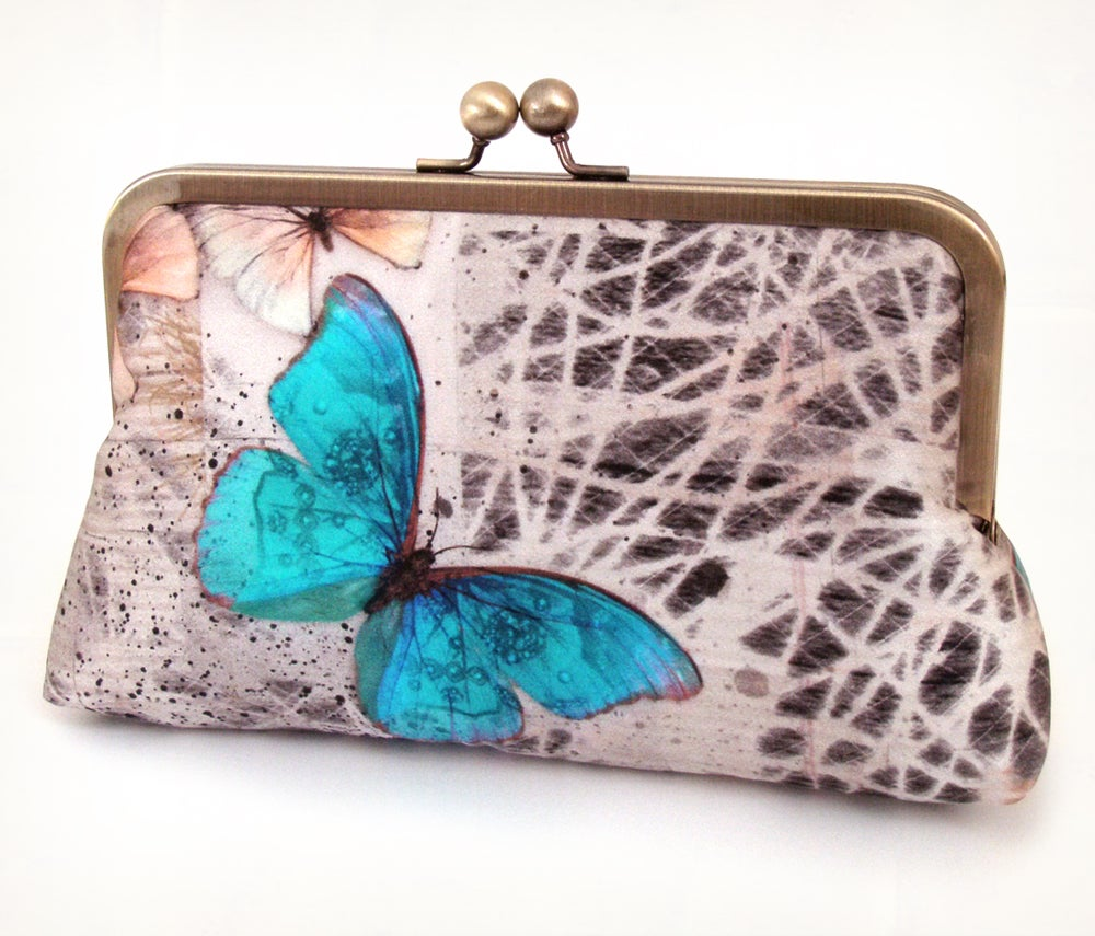 Image of Morphos butterfly, luxury silk clutch purse