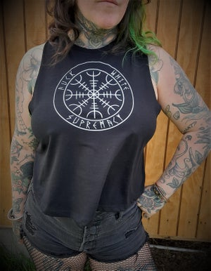 """Image of Helm of Awe """"Fuck White Supremacy"""" Crop Top"""