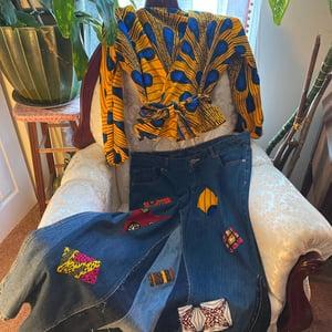 Image of Recycled Ankara Patch Work Denim Skirt