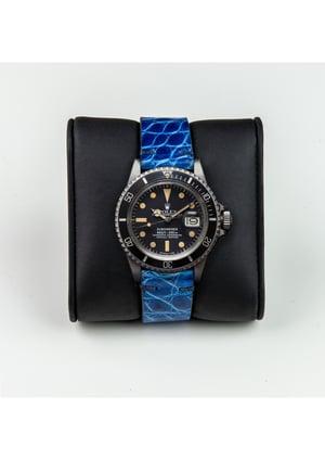 "Image of Glazed Blue Alligator 2 Piece ""Spezzone"" watch strap for deployante"
