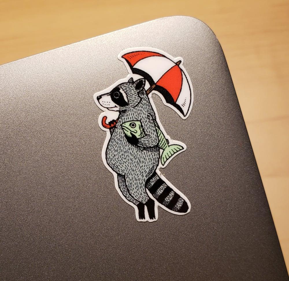 "Raccoon with Umbrella Mini 1.5"" Vinyl Sticker"