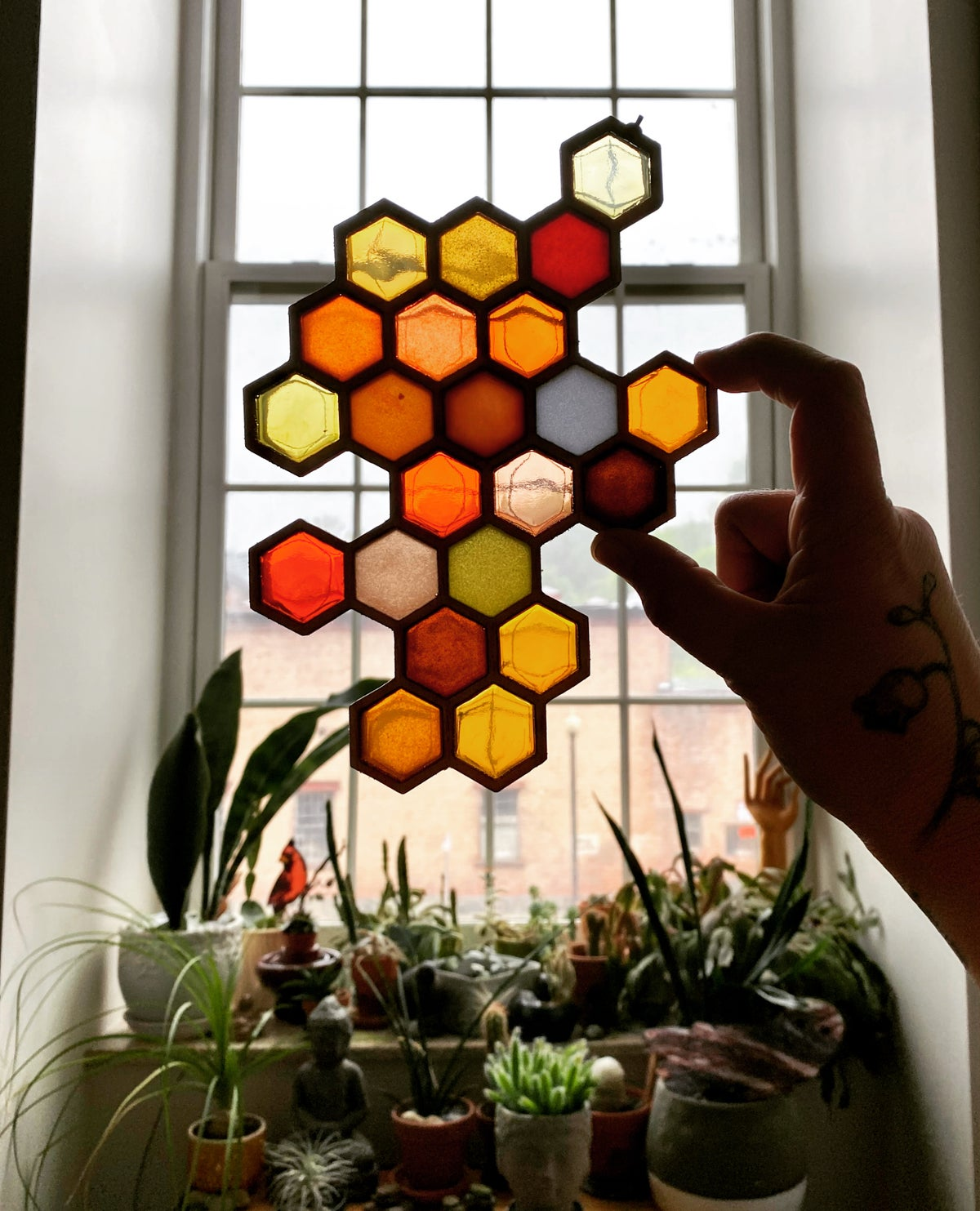Image of Honeycomb - Resin and Birch Light Catcher