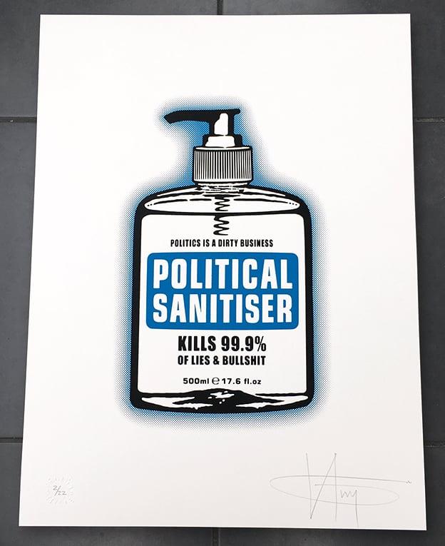 Image of POLITICAL SANITISER - MAIN EDITION on WHITE - 5 Prints Left