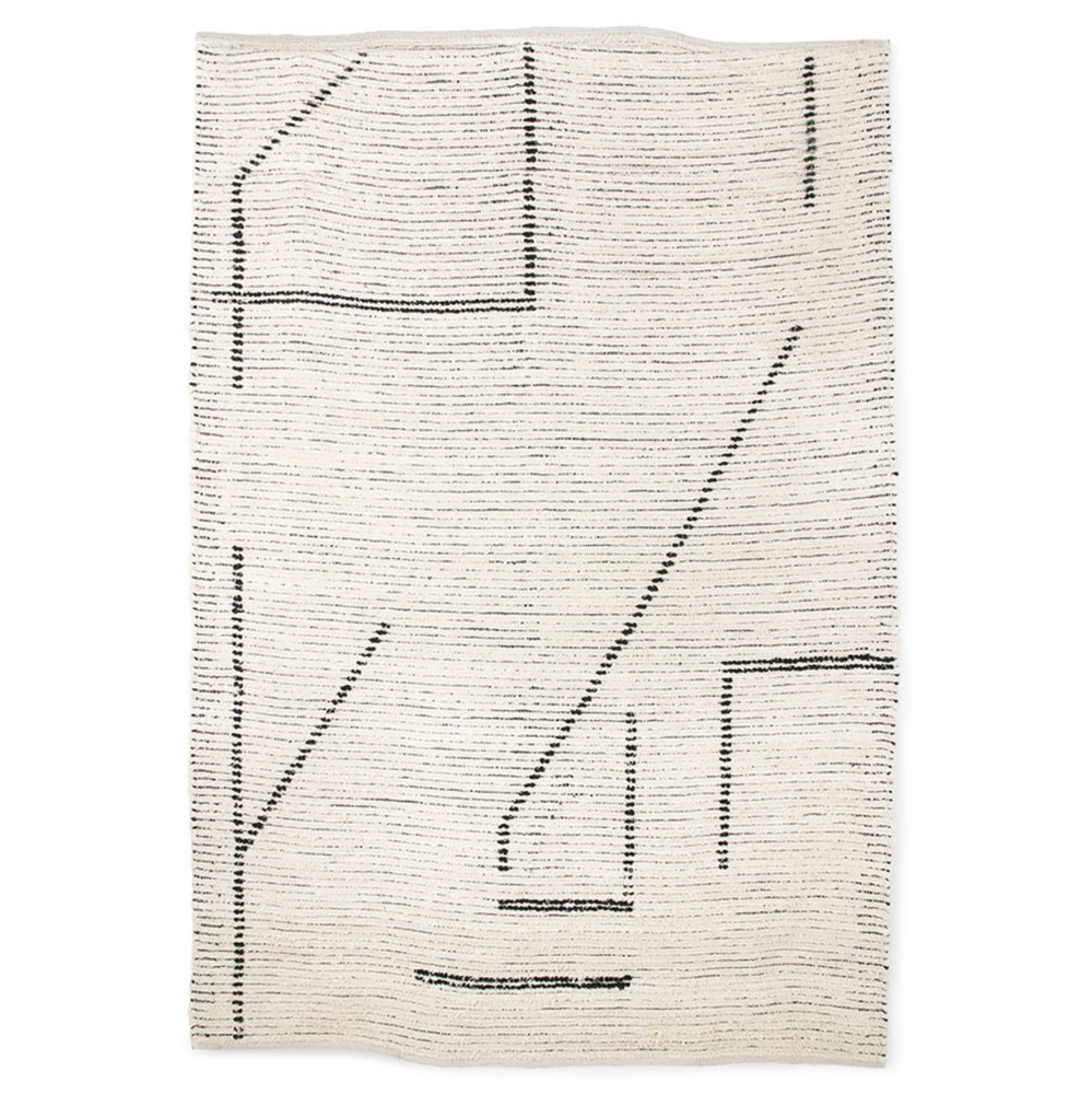 Image of Hand woven cotton lines rug