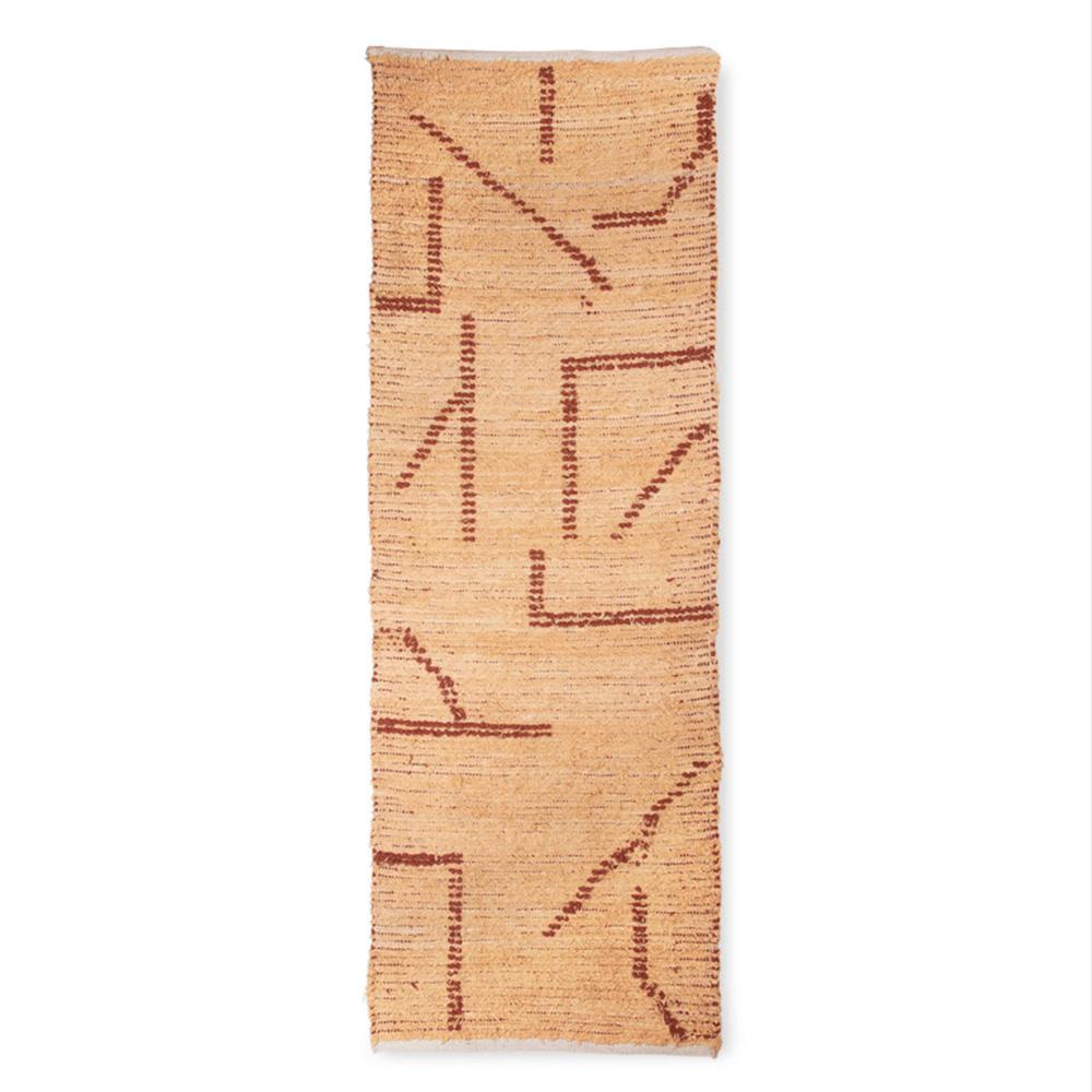 Image of Hand woven cotton runner peach/mocha