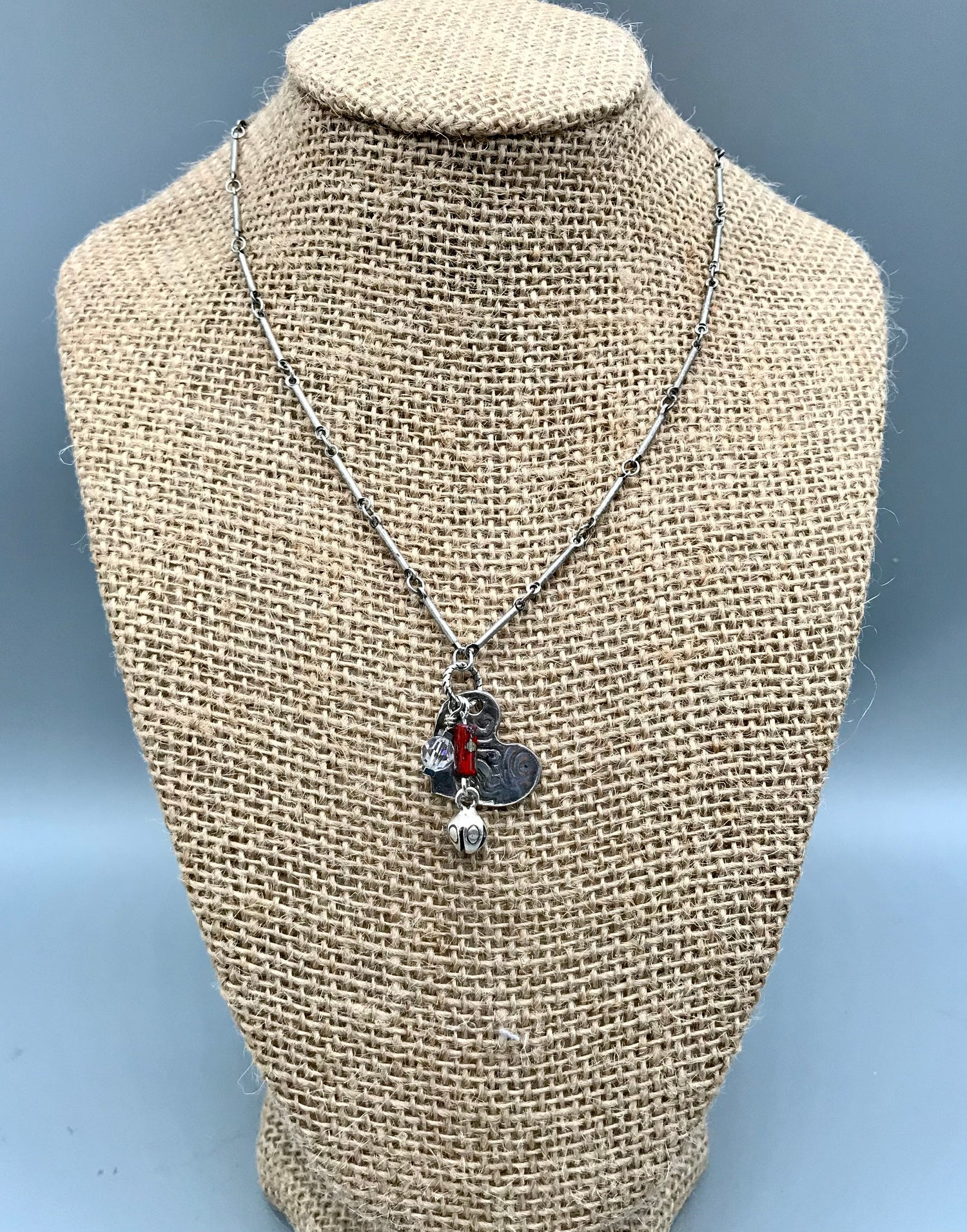 Image of Heart and Flower Bud Necklace
