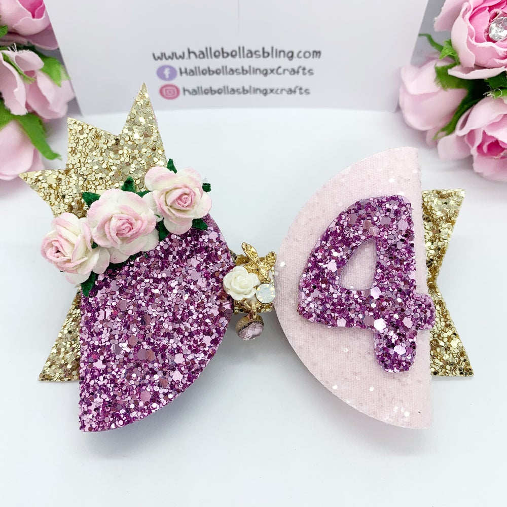 Image of Birthday crown age hair bow