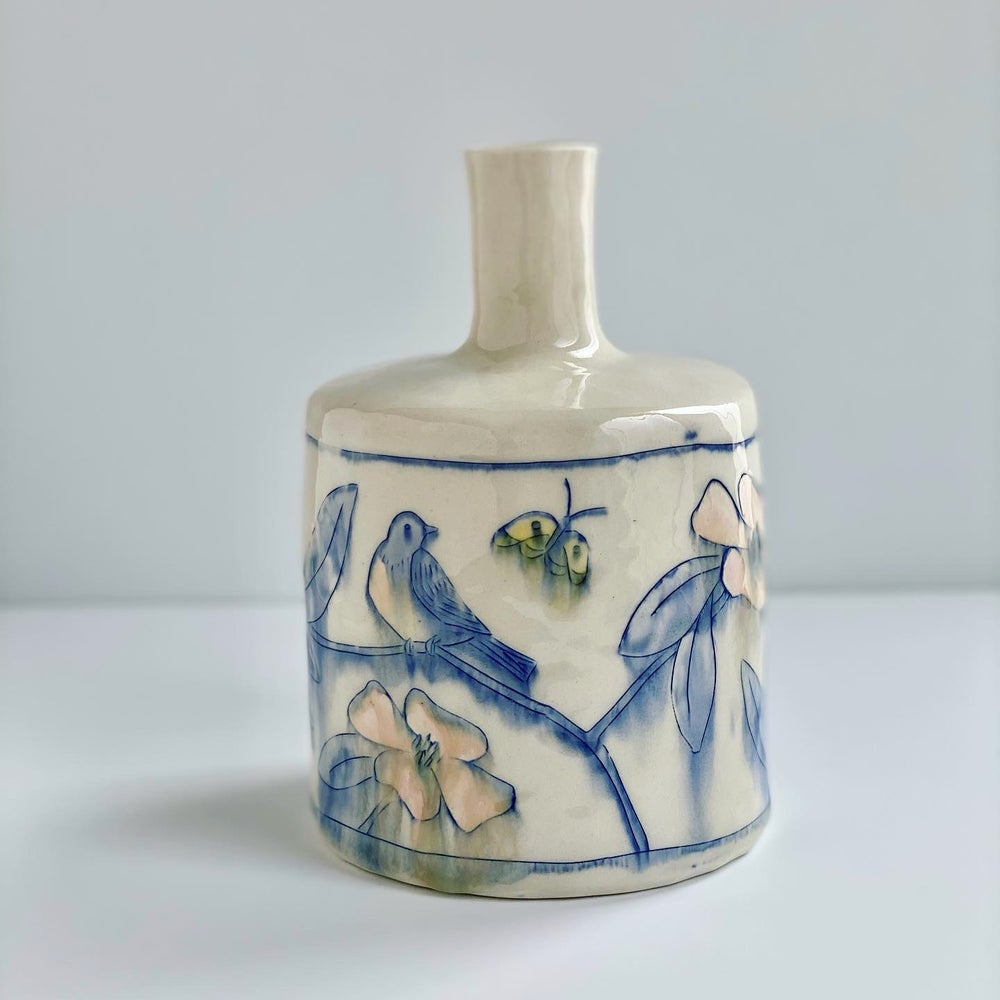 Image of Bluebird and Gold Moon Bottle Vase