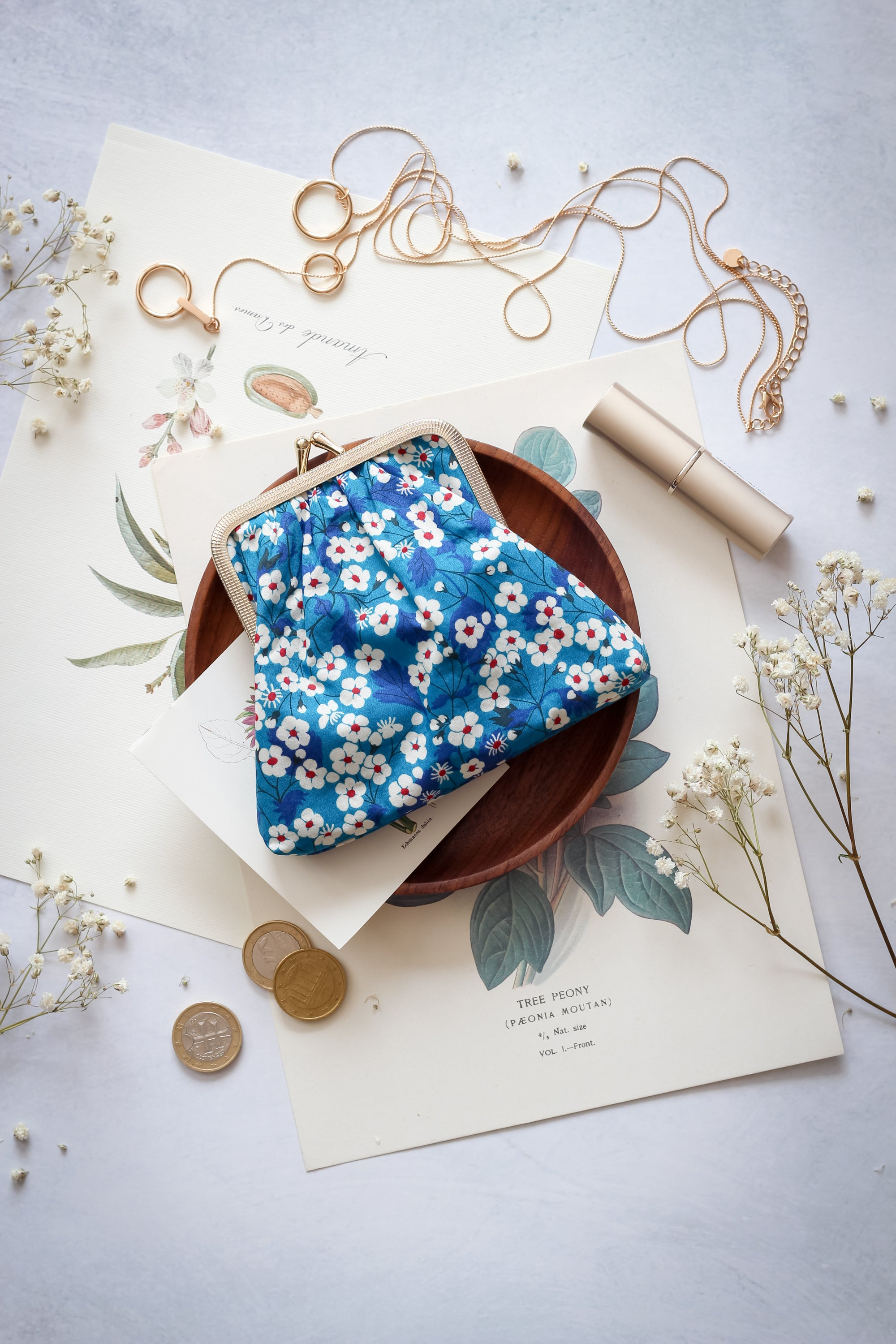 Image of Big coin purse * Daises * Blue