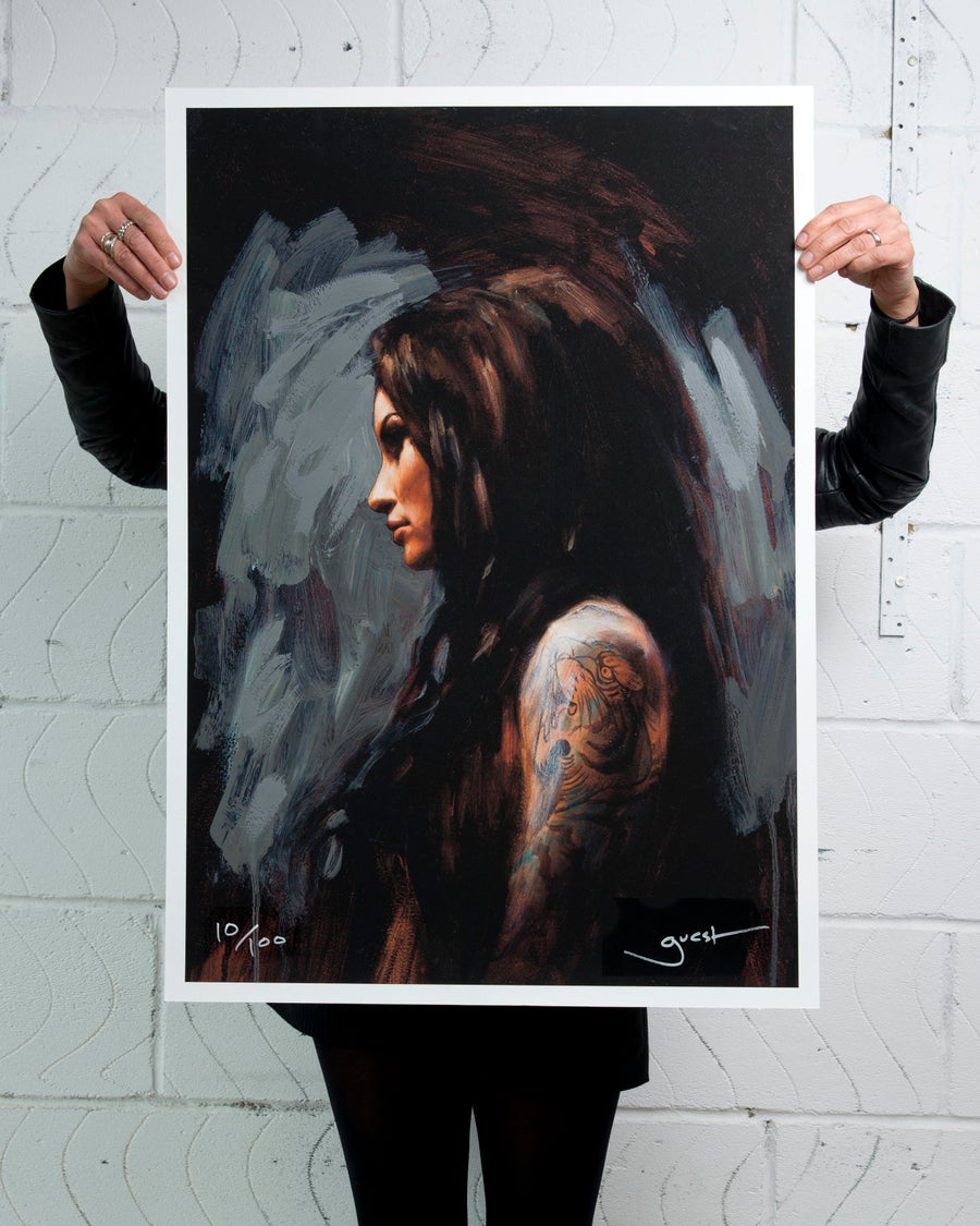 Image of 'TIGER SLEEVE' Extremely Limited Hand Embellished Giclee Print.