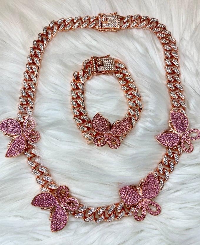 Image of Butterfly Cuban Necklace &' Bracelet Set