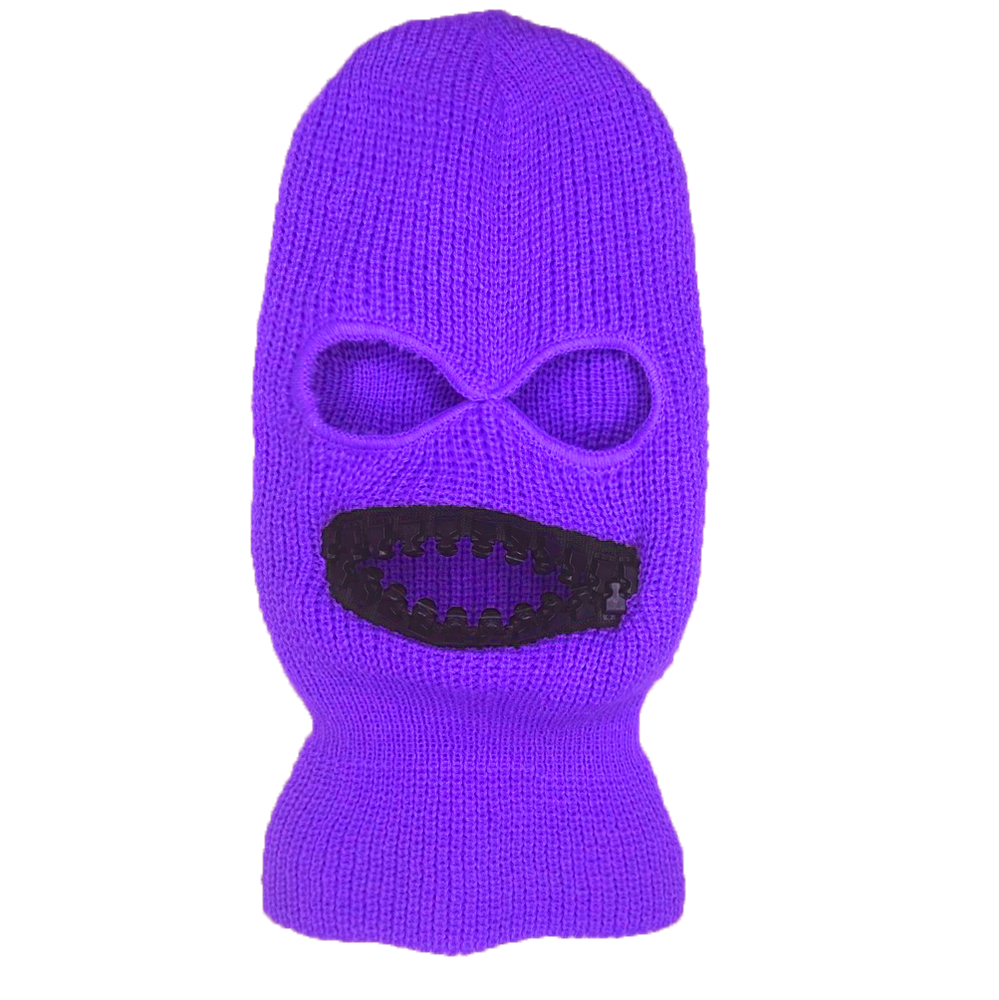 Image of Ski mask with oversized BLACK teeth zipper mouth grill teeth mask