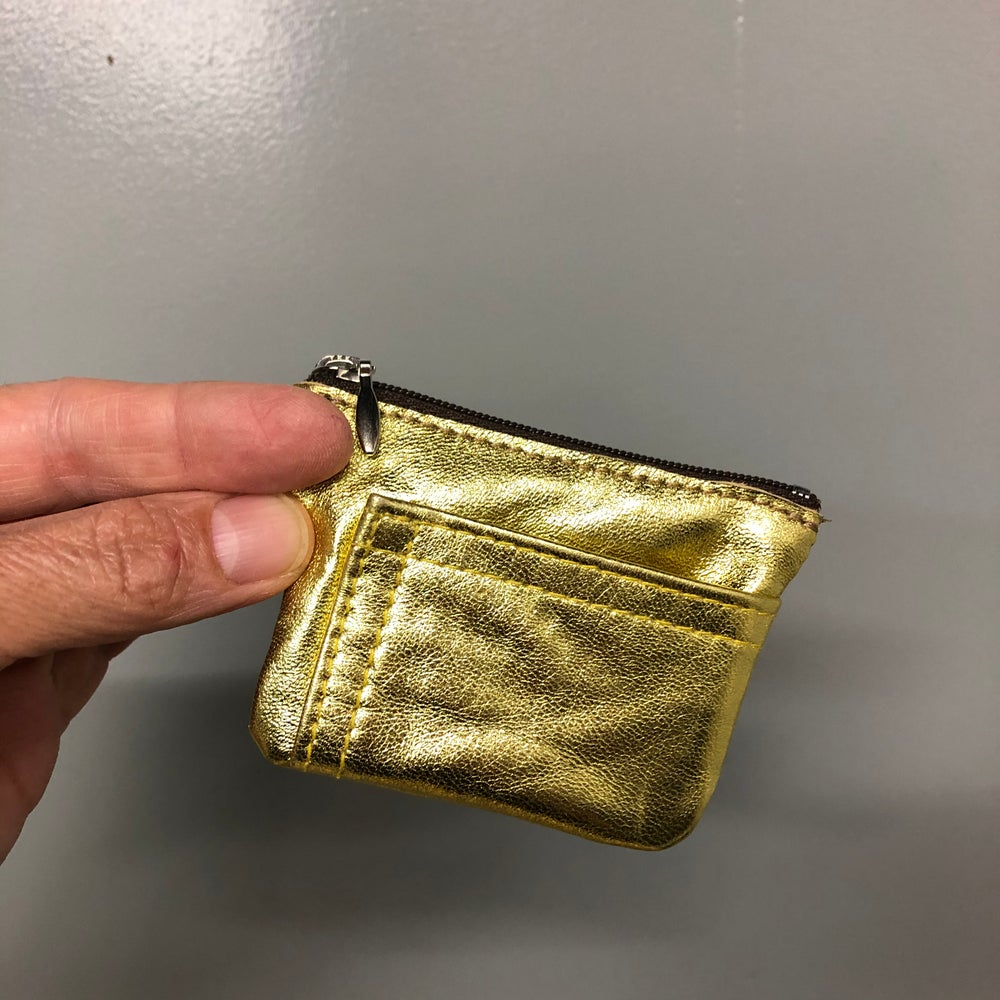 Image of Mini Zip pouch - gold leather