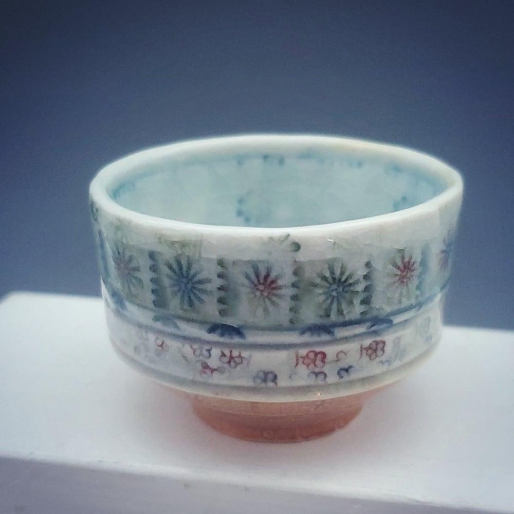 Image of Sky Blue Mandala Flower Small Porcelain Tea Bowl