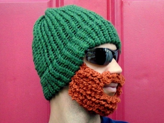 b9025081794 Beard Beanie the original fitted beard hat — green lumberjack with ...