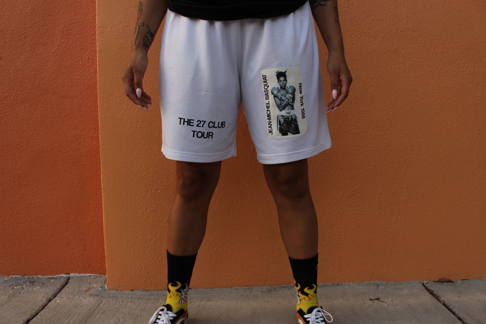 Image of White Basquiat Gym Shorts