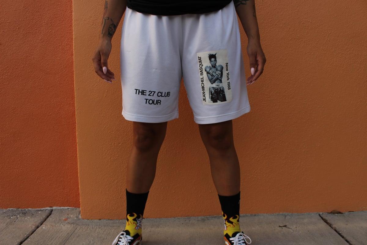 Image of White Basquiat Gym Shorts