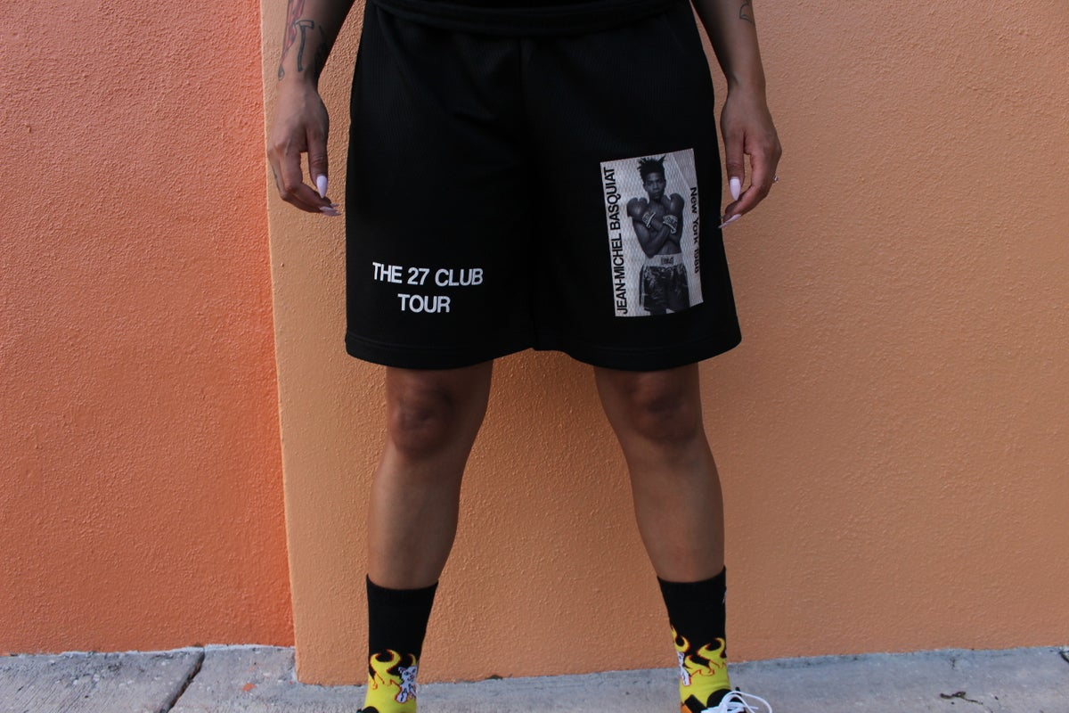 Image of Black Basquiat Gym Shorts.
