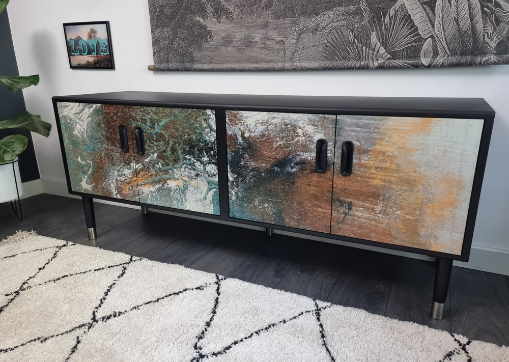 Image of •RESTYLED TO ORDER• G PLAN FRESCO SIDEBOARD WITH DECOUPAGE DESIGN