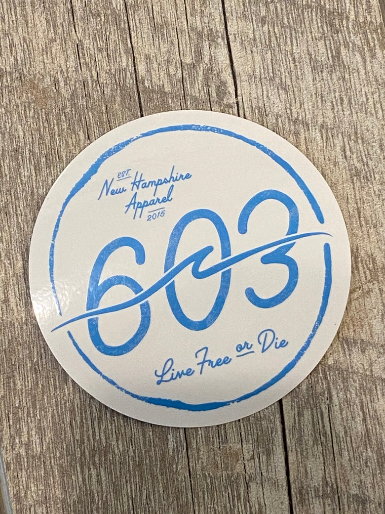 "Image of 4"" Clear vinyl 603 wave logo stickers"